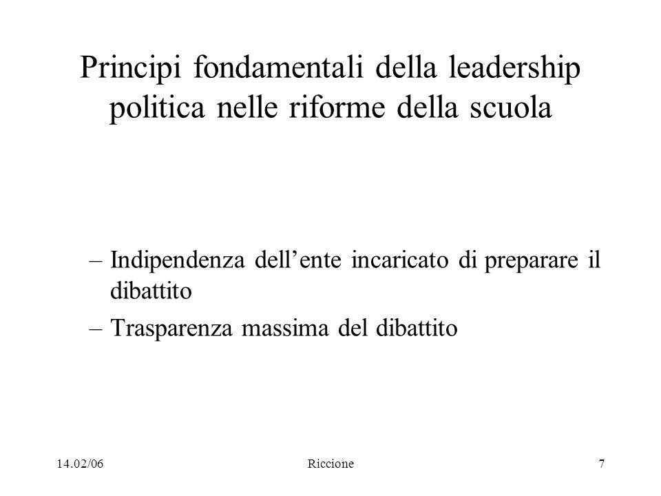 14.02/06Riccione7 Principi fondamentali della leadership politica nelle riforme della scuola –Indipendenza dellente incaricato di preparare il dibatti