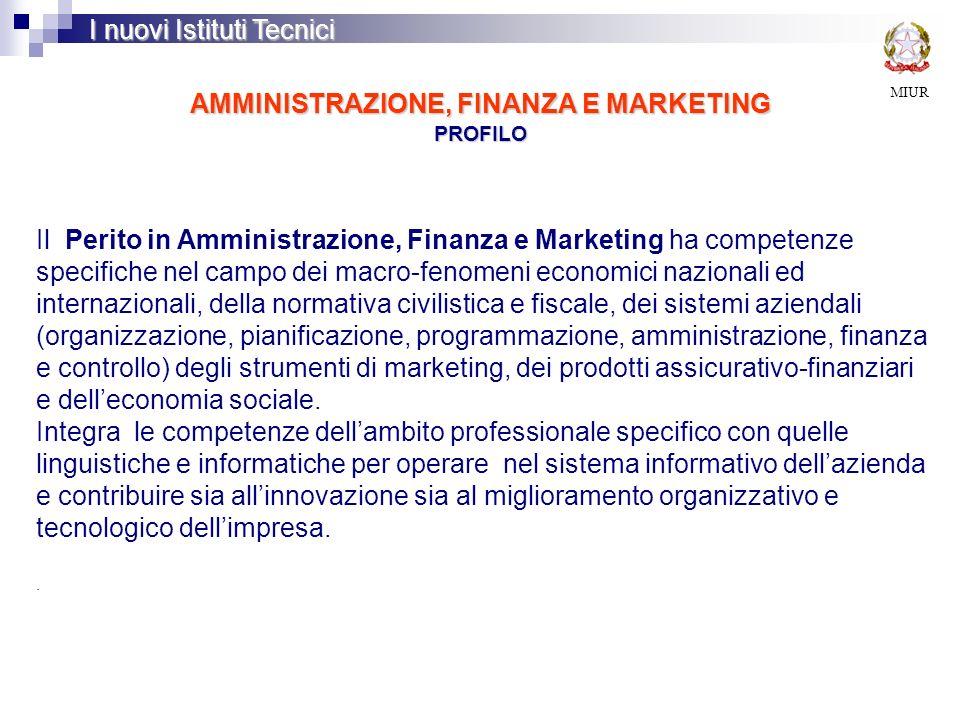 AMMINISTRAZIONE, FINANZA E MARKETING PROFILO MIUR I nuovi Istituti Tecnici Il Perito in Amministrazione, Finanza e Marketing ha competenze specifiche