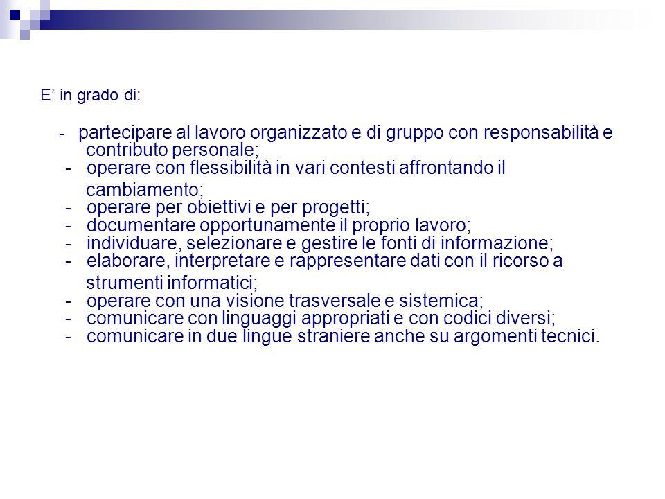 E in grado di: - partecipare al lavoro organizzato e di gruppo con responsabilità e contributo personale; - operare con flessibilità in vari contesti