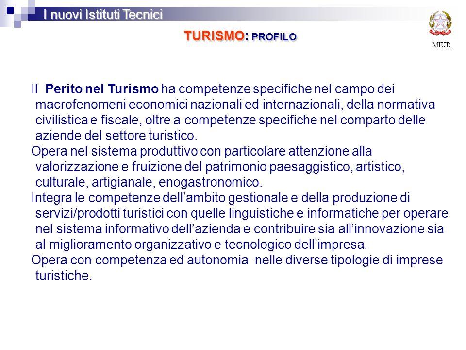 MIUR I nuovi Istituti Tecnici TURISMO: PROFILO Il Perito nel Turismo ha competenze specifiche nel campo dei macrofenomeni economici nazionali ed inter