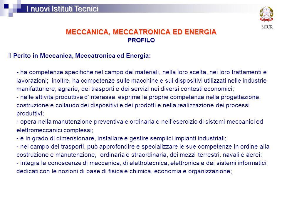 MECCANICA, MECCATRONICA ED ENERGIA PROFILO MIUR I nuovi Istituti Tecnici Il Perito in Meccanica, Meccatronica ed Energia: - ha competenze specifiche n