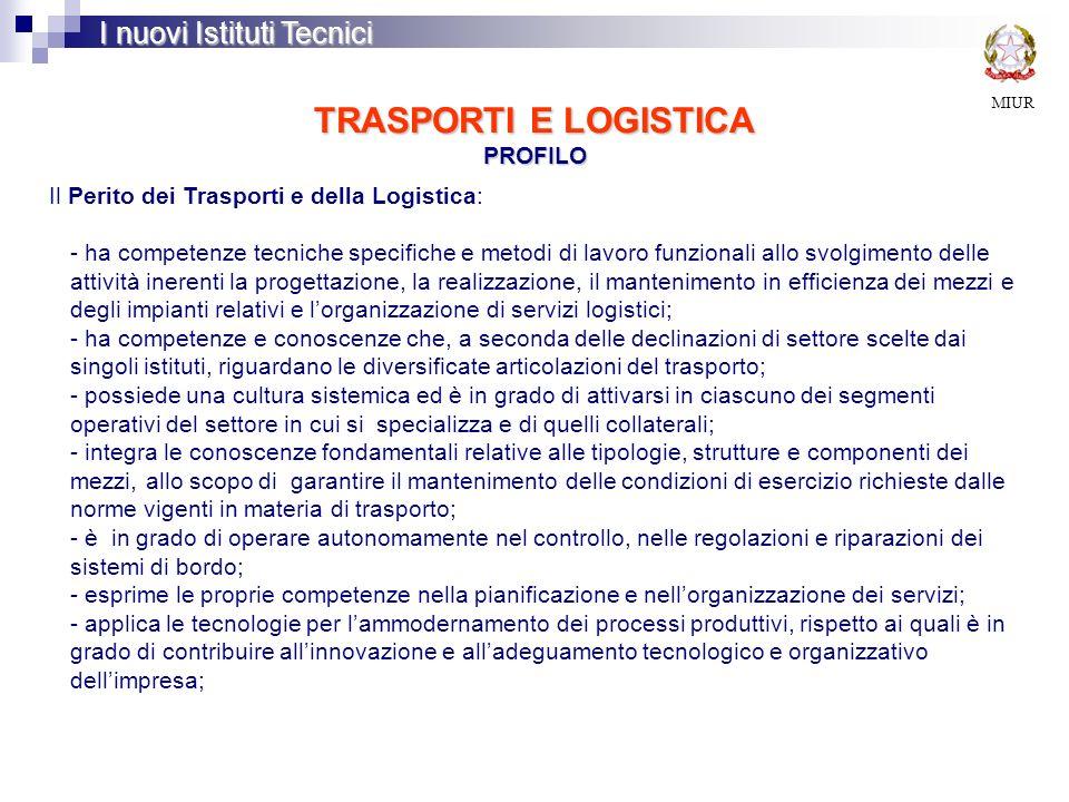 TRASPORTI E LOGISTICA PROFILO MIUR I nuovi Istituti Tecnici Il Perito dei Trasporti e della Logistica: - ha competenze tecniche specifiche e metodi di