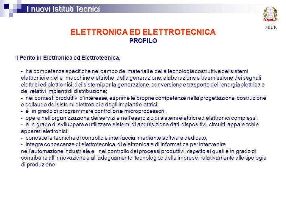 ELETTRONICA ED ELETTROTECNICA PROFILO MIUR I nuovi Istituti Tecnici Il Perito in Elettronica ed Elettrotecnica: - ha competenze specifiche nel campo d