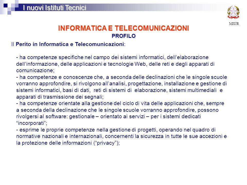 INFORMATICA E TELECOMUNICAZIONI PROFILO MIUR I nuovi Istituti Tecnici Il Perito in Informatica e Telecomunicazioni: - ha competenze specifiche nel cam