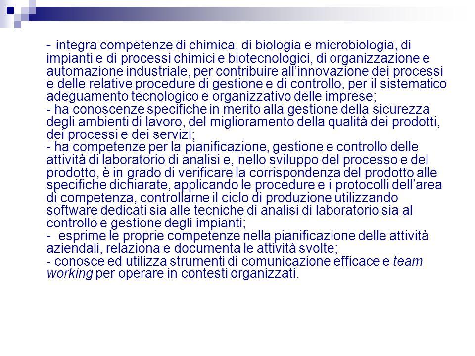 - integra competenze di chimica, di biologia e microbiologia, di impianti e di processi chimici e biotecnologici, di organizzazione e automazione indu