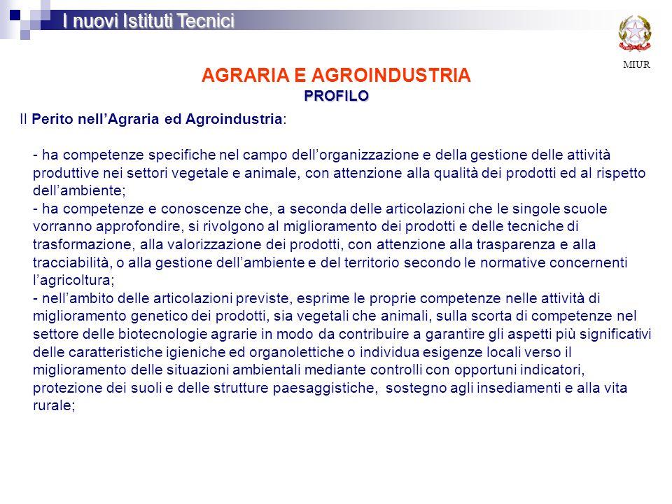 PROFILO AGRARIA E AGROINDUSTRIA PROFILO MIUR I nuovi Istituti Tecnici Il Perito nellAgraria ed Agroindustria: - ha competenze specifiche nel campo del