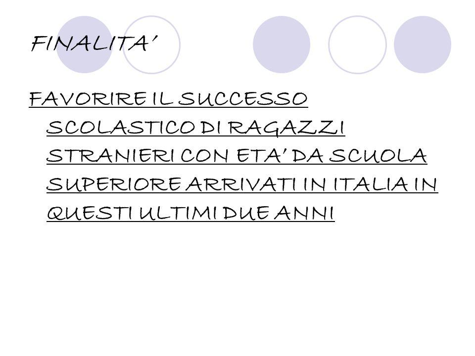 FINALITA FAVORIRE IL SUCCESSO SCOLASTICO DI RAGAZZI STRANIERI CON ETA DA SCUOLA SUPERIORE ARRIVATI IN ITALIA IN QUESTI ULTIMI DUE ANNI