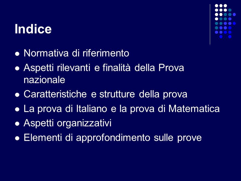 Indice Normativa di riferimento Aspetti rilevanti e finalità della Prova nazionale Caratteristiche e strutture della prova La prova di Italiano e la prova di Matematica Aspetti organizzativi Elementi di approfondimento sulle prove