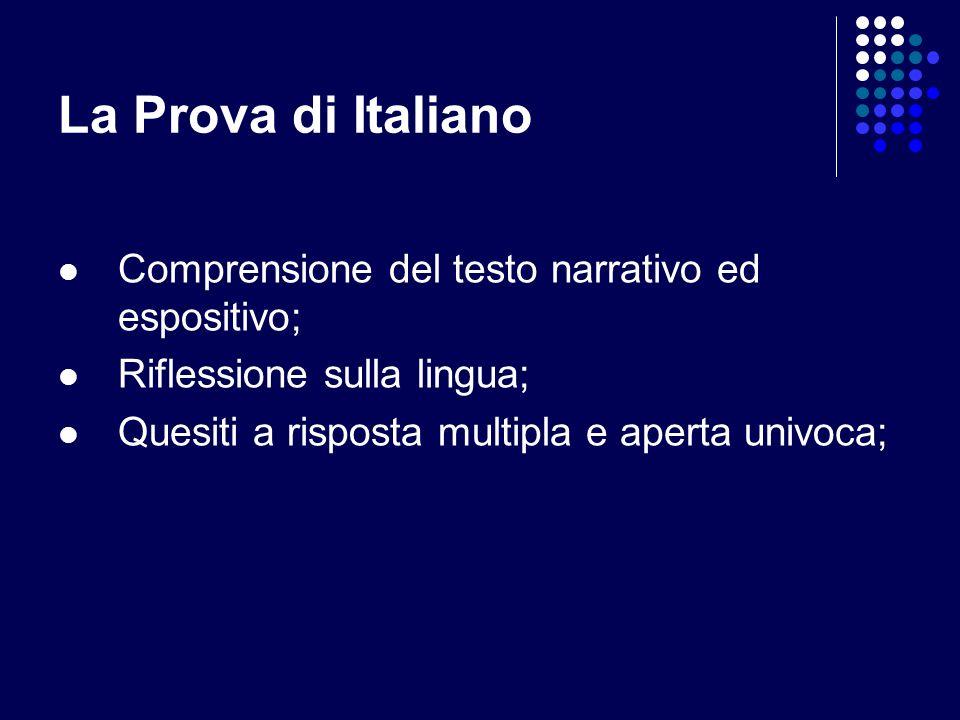 La Prova di Italiano Comprensione del testo narrativo ed espositivo; Riflessione sulla lingua; Quesiti a risposta multipla e aperta univoca;