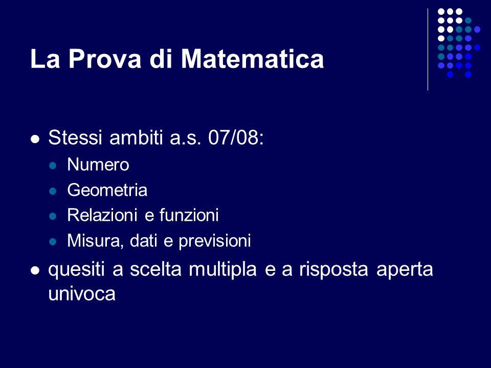 La Prova di Matematica Stessi ambiti a.s.