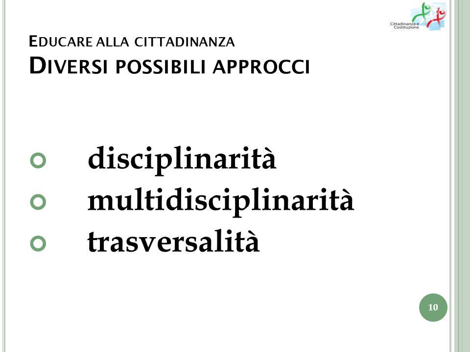 E DUCARE ALLA CITTADINANZA D IVERSI POSSIBILI APPROCCI disciplinarità multidisciplinarità trasversalità 10