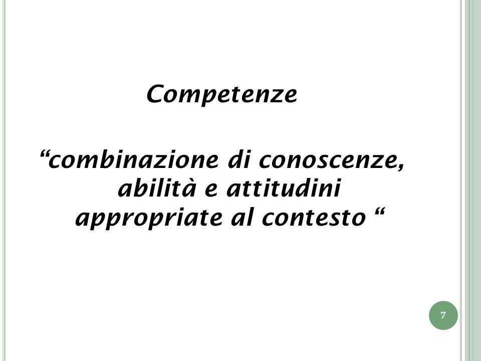 Competenze combinazione di conoscenze, abilità e attitudini appropriate al contesto 7