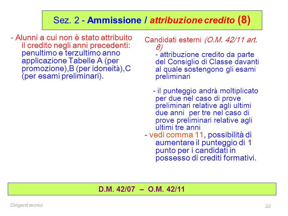 Dirigenti tecnici 22 D.M. 42/07 – O.M. 42/11 Sez. 2 - Ammissione / attribuzione credito (8) - Alunni a cui non è stato attribuito il credito negli ann