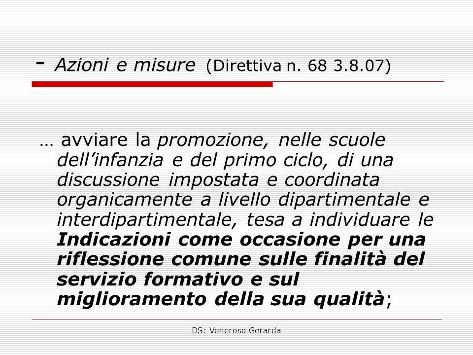DS: Veneroso Gerarda - Azioni e misure (Direttiva n. 68 3.8.07) … avviare la promozione, nelle scuole dellinfanzia e del primo ciclo, di una discussio