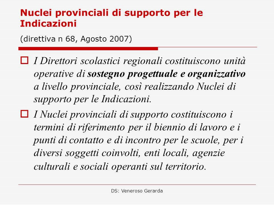 DS: Veneroso Gerarda Nuclei provinciali di supporto per le Indicazioni (direttiva n 68, Agosto 2007) I Direttori scolastici regionali costituiscono unità operative di sostegno progettuale e organizzativo a livello provinciale, così realizzando Nuclei di supporto per le Indicazioni.