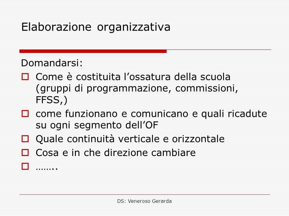 DS: Veneroso Gerarda Elaborazione organizzativa Domandarsi: Come è costituita lossatura della scuola (gruppi di programmazione, commissioni, FFSS,) co