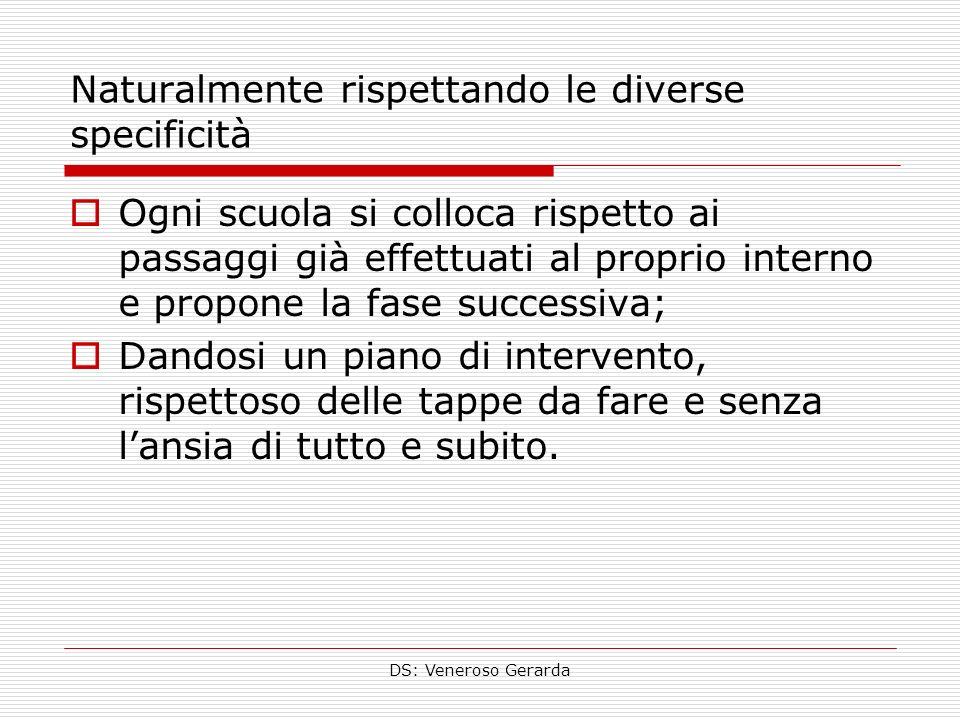 DS: Veneroso Gerarda Naturalmente rispettando le diverse specificità Ogni scuola si colloca rispetto ai passaggi già effettuati al proprio interno e p