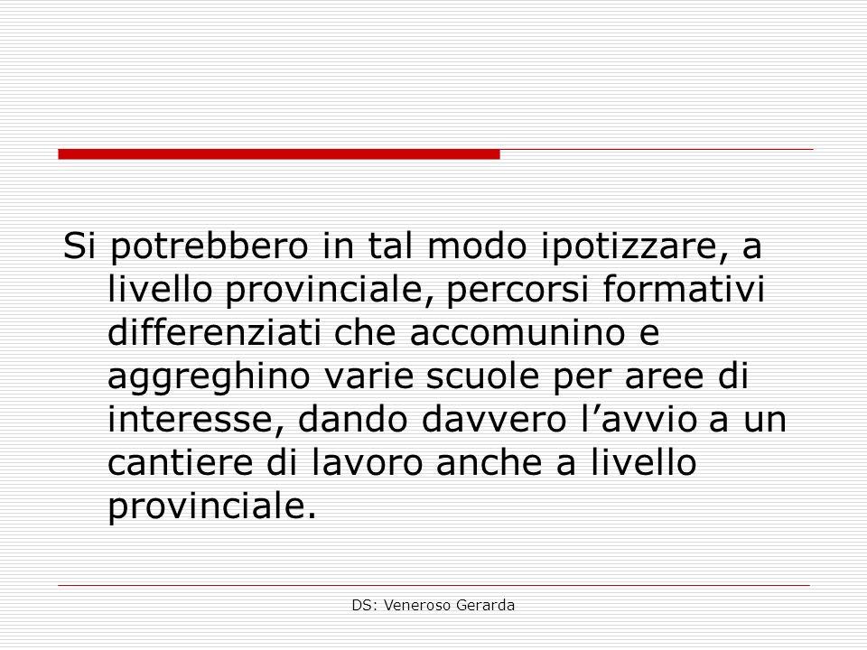 DS: Veneroso Gerarda Si potrebbero in tal modo ipotizzare, a livello provinciale, percorsi formativi differenziati che accomunino e aggreghino varie scuole per aree di interesse, dando davvero lavvio a un cantiere di lavoro anche a livello provinciale.