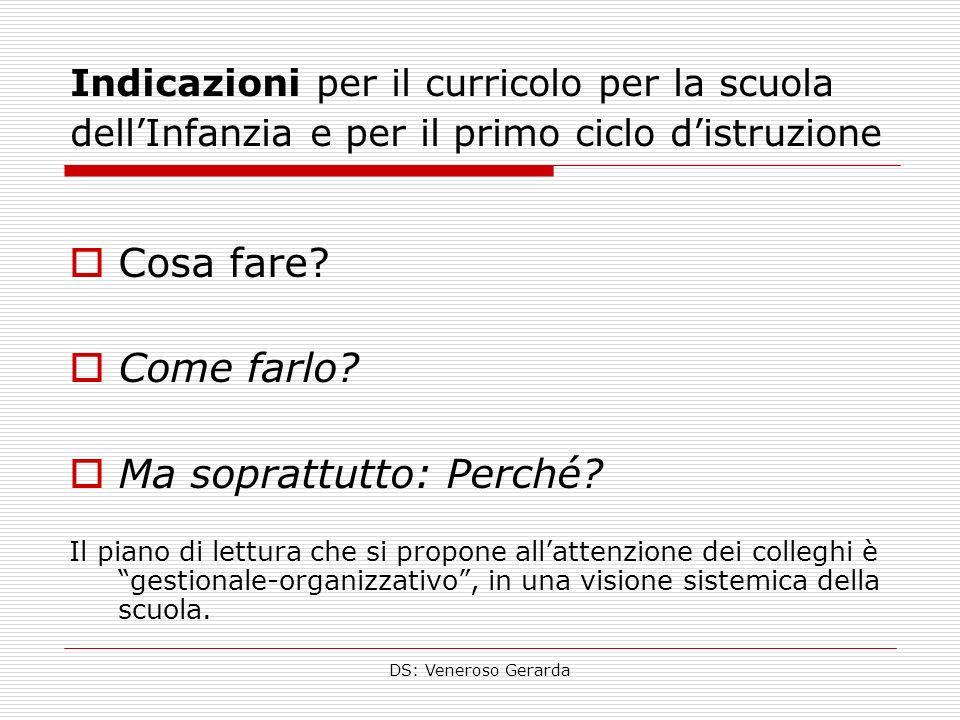 DS: Veneroso Gerarda Indicazioni per il curricolo per la scuola dellInfanzia e per il primo ciclo distruzione Cosa fare.