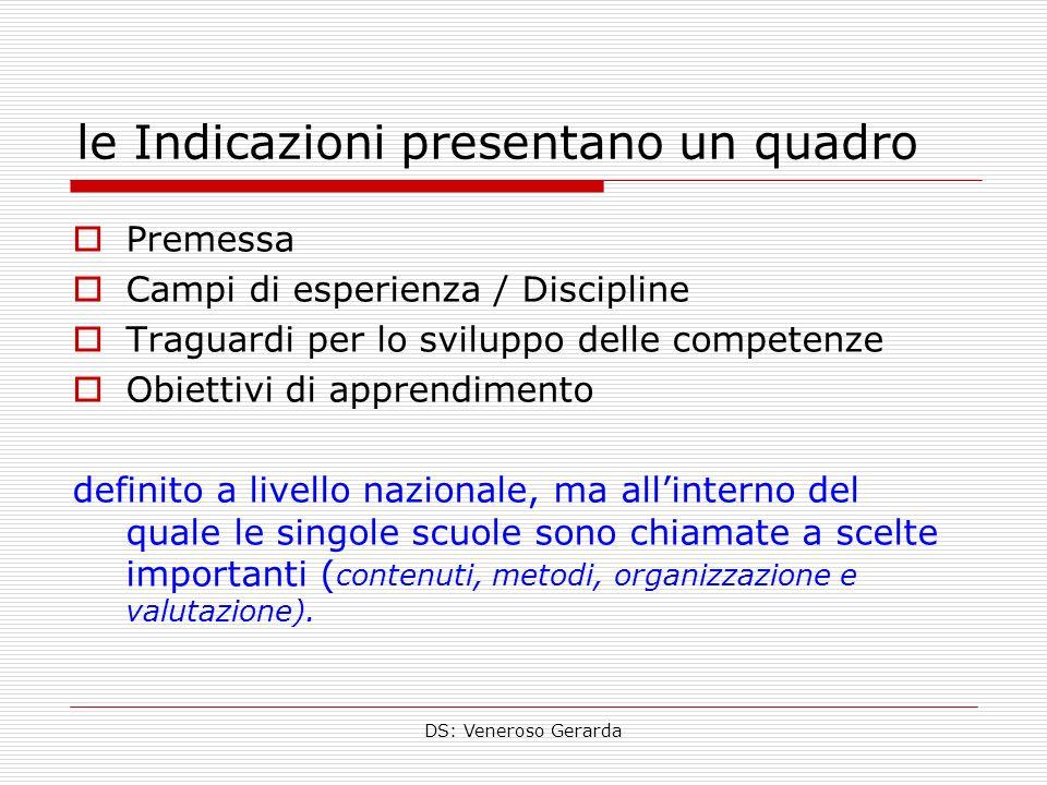 DS: Veneroso Gerarda le Indicazioni presentano un quadro Premessa Campi di esperienza / Discipline Traguardi per lo sviluppo delle competenze Obiettiv