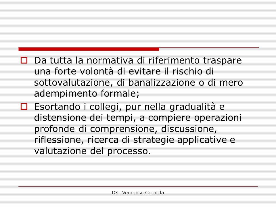 DS: Veneroso Gerarda Da tutta la normativa di riferimento traspare una forte volontà di evitare il rischio di sottovalutazione, di banalizzazione o di
