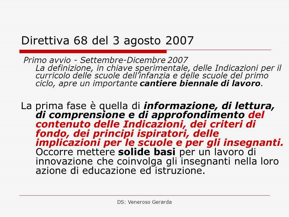 DS: Veneroso Gerarda Direttiva 68 del 3 agosto 2007 Primo avvio - Settembre-Dicembre 2007 La definizione, in chiave sperimentale, delle Indicazioni pe