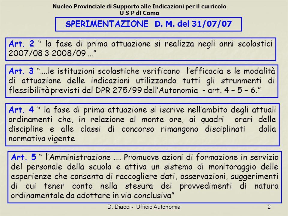 Nucleo Provinciale di Supporto alle Indicazioni per il curricolo U S P di Como D. Diacci - Ufficio Autonomia2 SPERIMENTAZIONE D. M. del 31/07/07 Art.