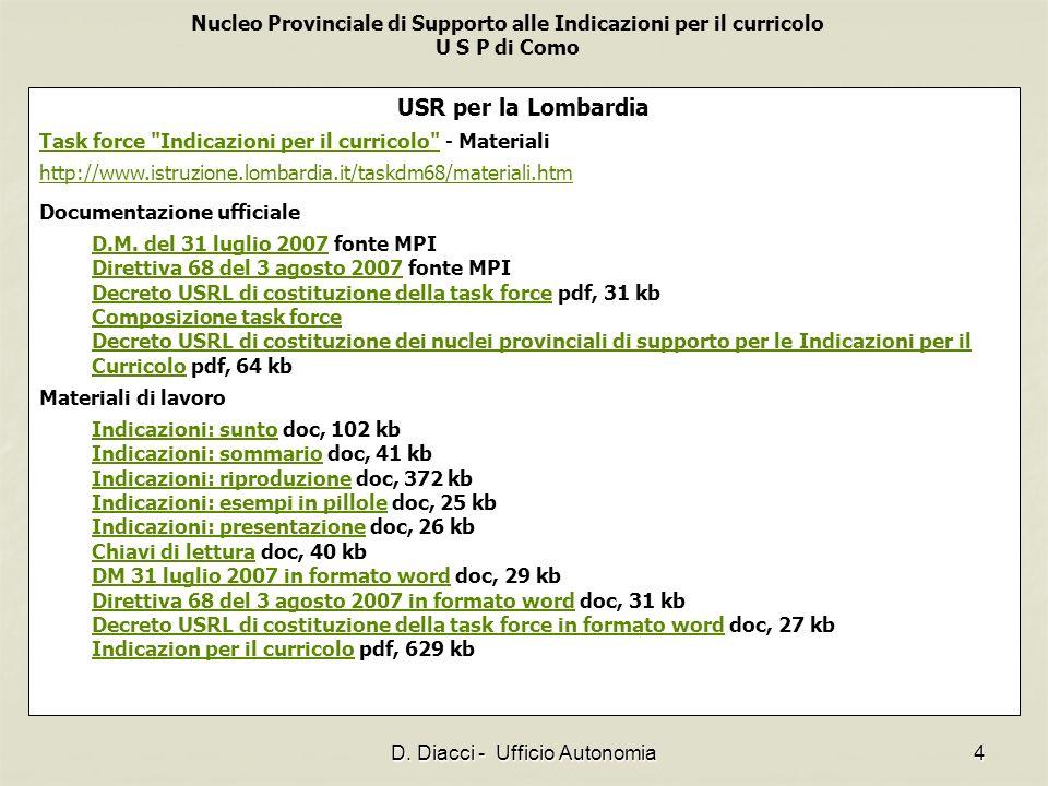 Nucleo Provinciale di Supporto alle Indicazioni per il curricolo U S P di Como D. Diacci - Ufficio Autonomia4 USR per la Lombardia Task force