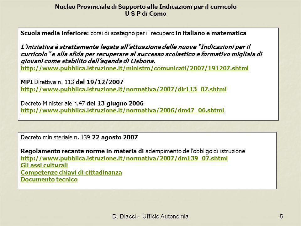 Nucleo Provinciale di Supporto alle Indicazioni per il curricolo U S P di Como D. Diacci - Ufficio Autonomia5 Scuola media inferiore: corsi di sostegn