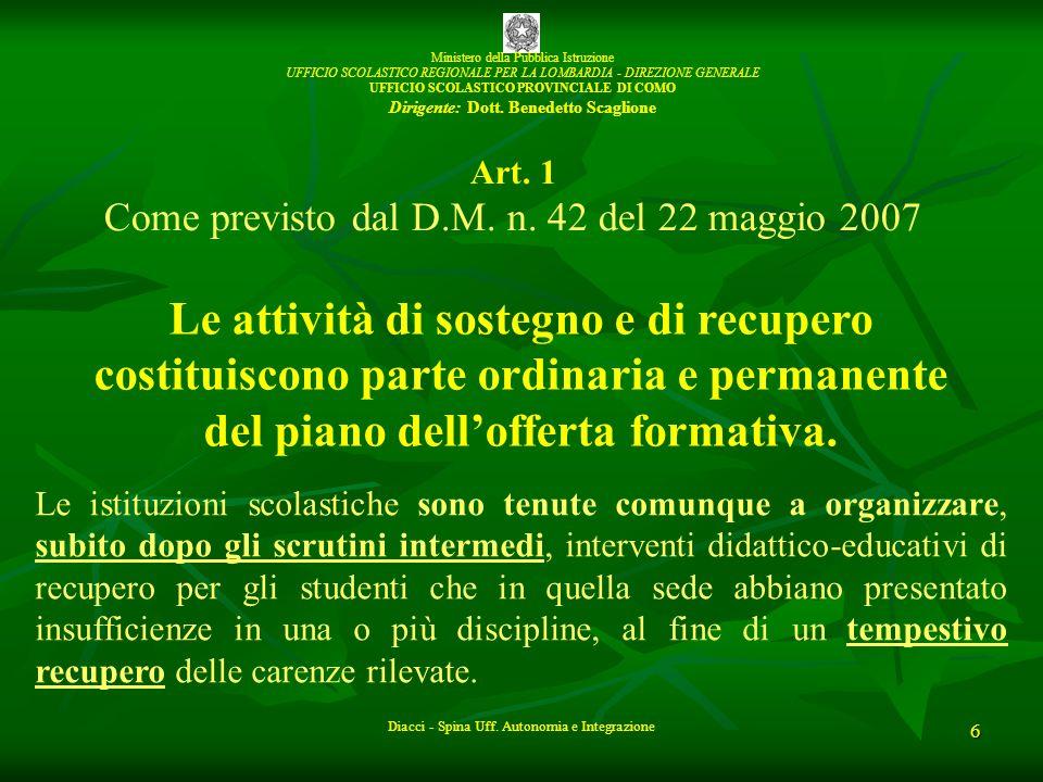 Ministero della Pubblica Istruzione UFFICIO SCOLASTICO REGIONALE PER LA LOMBARDIA - DIREZIONE GENERALE UFFICIO SCOLASTICO PROVINCIALE DI COMO Dirigente: Dott.