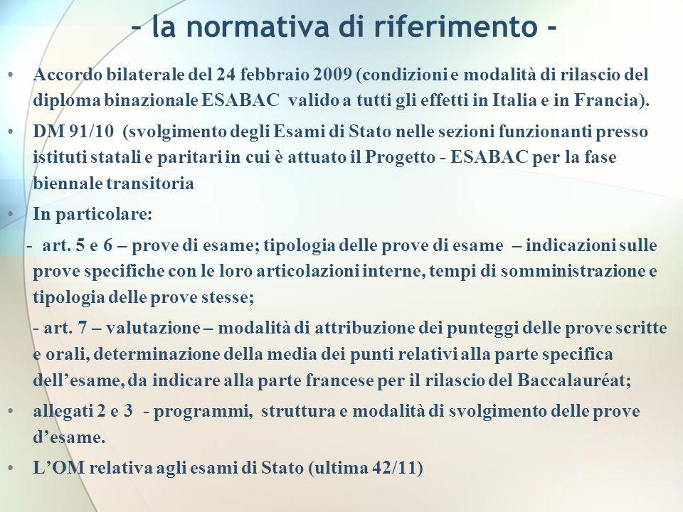 – la normativa di riferimento - Accordo bilaterale del 24 febbraio 2009 (condizioni e modalità di rilascio del diploma binazionale ESABAC valido a tutti gli effetti in Italia e in Francia).