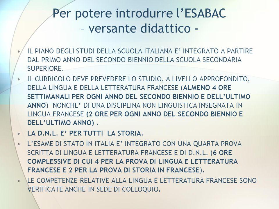 Per potere introdurre lESABAC – versante didattico - IL PIANO DEGLI STUDI DELLA SCUOLA ITALIANA E INTEGRATO A PARTIRE DAL PRIMO ANNO DEL SECONDO BIENNIO DELLA SCUOLA SECONDARIA SUPERIORE.