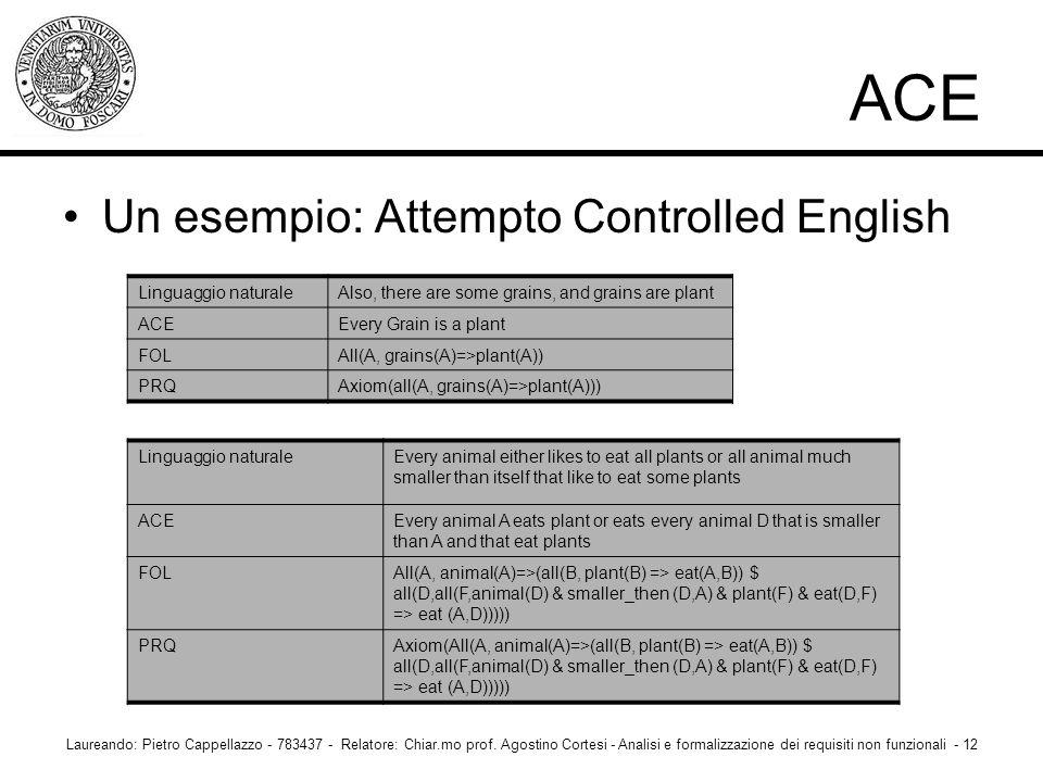 Un esempio: Attempto Controlled English Laureando: Pietro Cappellazzo - 783437 - Relatore: Chiar.mo prof. Agostino Cortesi - Analisi e formalizzazione
