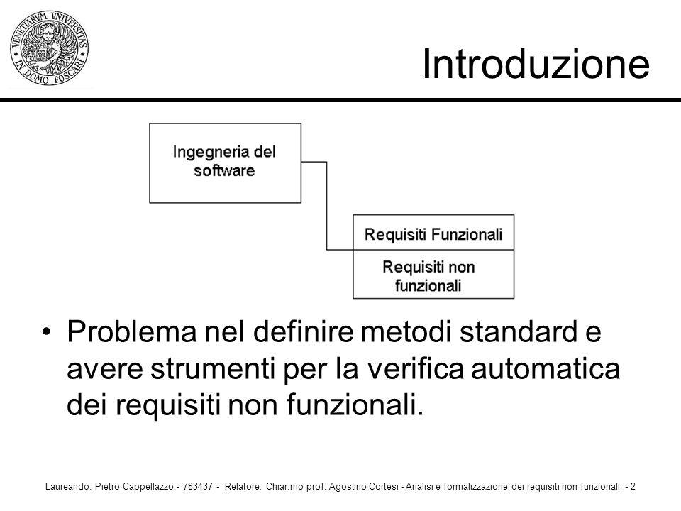 Introduzione Problema nel definire metodi standard e avere strumenti per la verifica automatica dei requisiti non funzionali. Laureando: Pietro Cappel