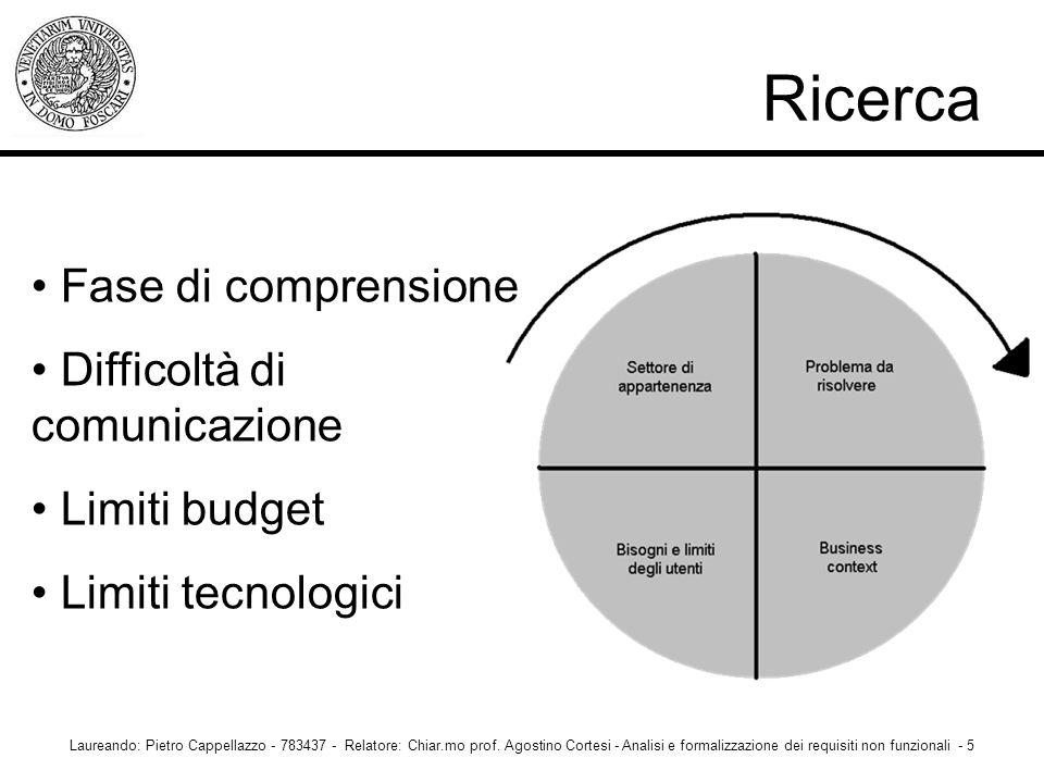 Ricerca Laureando: Pietro Cappellazzo - 783437 - Relatore: Chiar.mo prof. Agostino Cortesi - Analisi e formalizzazione dei requisiti non funzionali -
