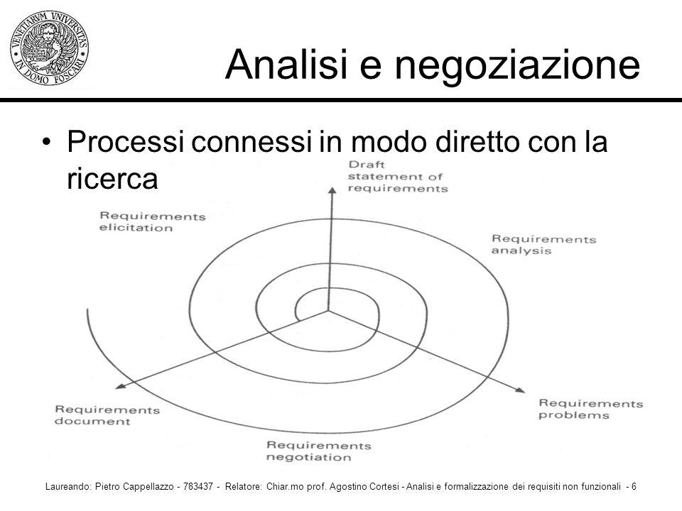 Analisi e negoziazione Processi connessi in modo diretto con la ricerca Laureando: Pietro Cappellazzo - 783437 - Relatore: Chiar.mo prof. Agostino Cor