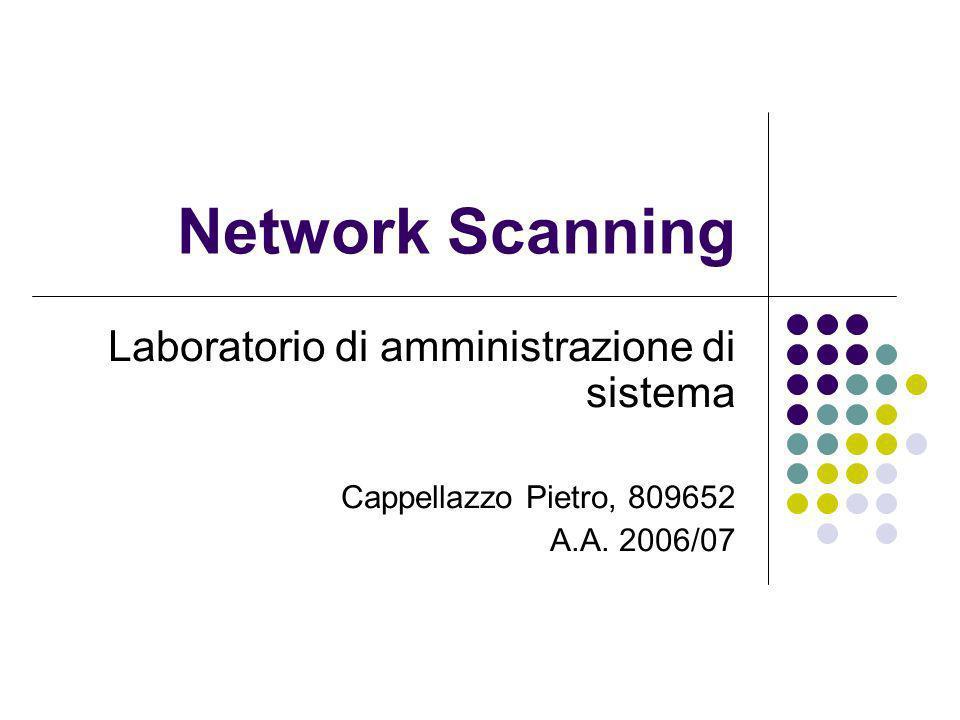 Network Scanning22 Inverse TCP flag scanning - Nmap Nmap può effettuare un TCP flag portscan, utilizzando le opzioni: -sF per il FIN probe -sX per lXMAS Tree probe -sN per il NULL probe ESEMPIO: nmap -sF 127.0.0.1 … Interesting ports on chaos (127.0.0.1): (The 1668 ports scanned but not shown below are in state:closed) PORT STATE SERVICE 21/tcp open|filtered ftp 22/tcp open|filtered ssh 631/tcp open|filtered ipp 6000/tcp open|filtered X11 … Come vediamo in questo caso Nmap riesce anche a dirci se la porta in questione è open|filtered in quanto come visto in precedenza il sistema se una porta è aperta non risponde, ma lo stesso avviene se una porta è filtered e quindi inaccessibile
