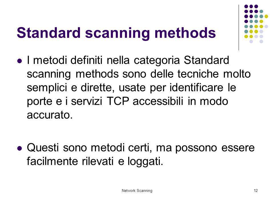 Network Scanning12 Standard scanning methods I metodi definiti nella categoria Standard scanning methods sono delle tecniche molto semplici e dirette,