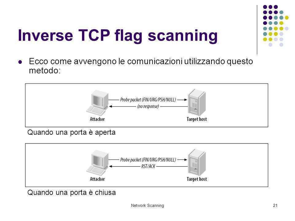 Network Scanning21 Inverse TCP flag scanning Ecco come avvengono le comunicazioni utilizzando questo metodo: Quando una porta è aperta Quando una port