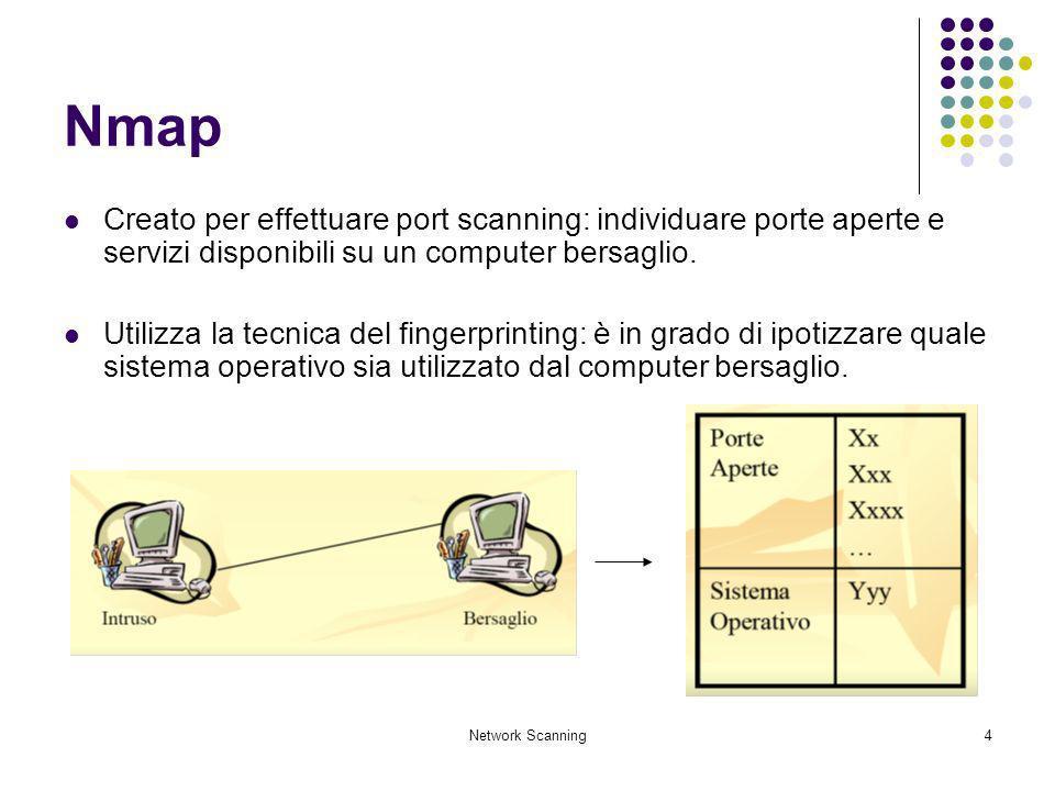 Network Scanning5 Nmap Utilizza i pacchetti IP per ottenere informazioni come: gli host presenti su una rete; i servizi che tali host rendono disponibili; i sistemi operativi presenti sulla macchina; la presenza di firewall ed altre.