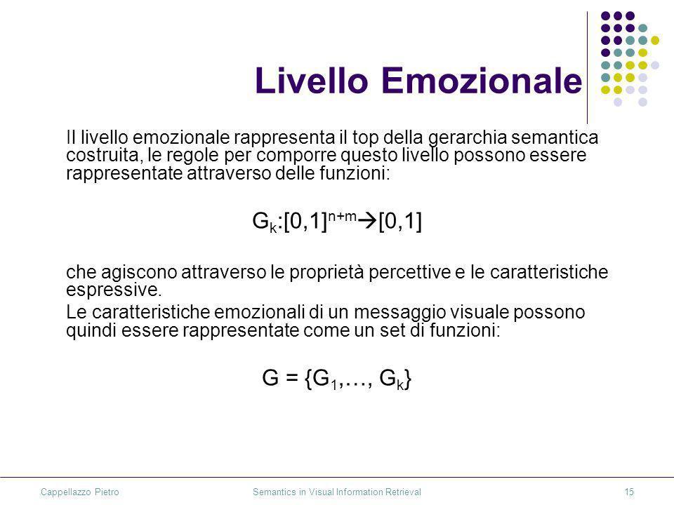 Cappellazzo Pietro Semantics in Visual Information Retrieval15 Livello Emozionale Il livello emozionale rappresenta il top della gerarchia semantica costruita, le regole per comporre questo livello possono essere rappresentate attraverso delle funzioni: G k :[0,1] n+m [0,1] che agiscono attraverso le proprietà percettive e le caratteristiche espressive.