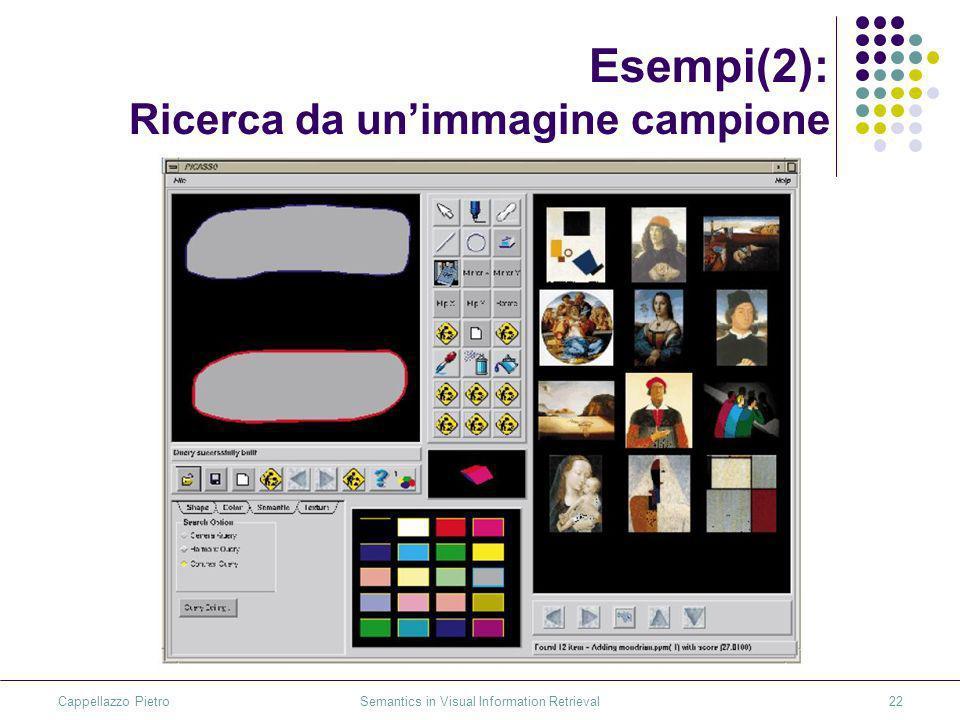 Cappellazzo Pietro Semantics in Visual Information Retrieval22 Esempi(2): Ricerca da unimmagine campione