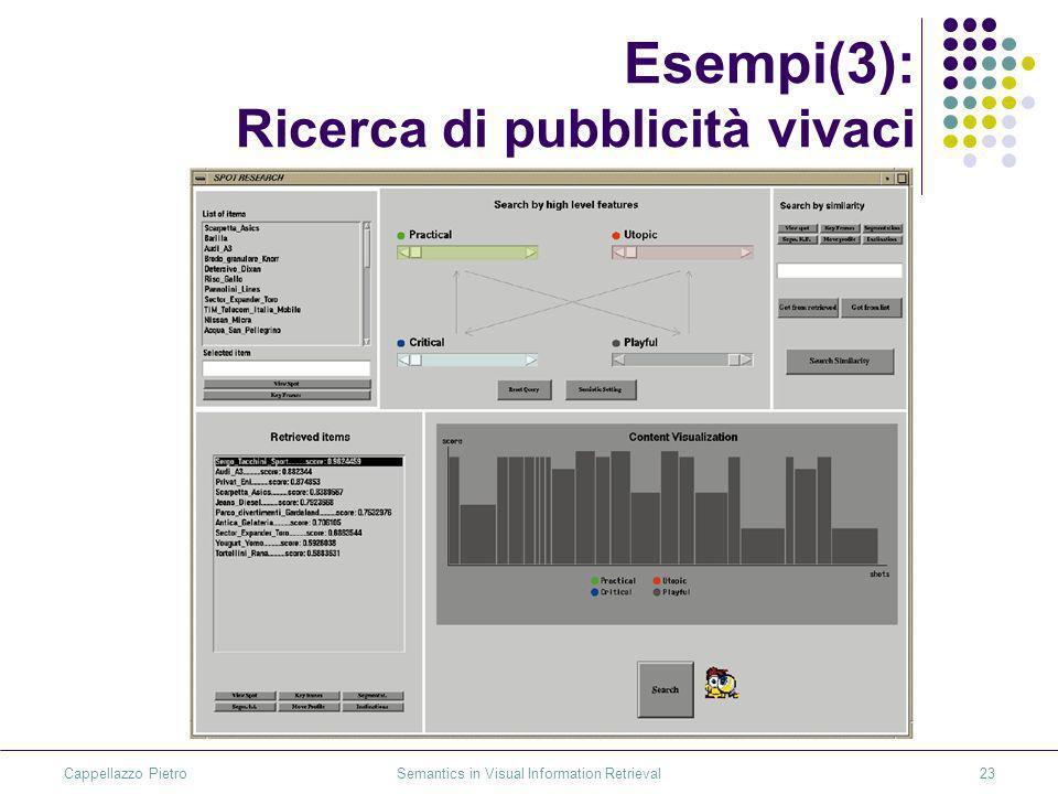 Cappellazzo Pietro Semantics in Visual Information Retrieval23 Esempi(3): Ricerca di pubblicità vivaci