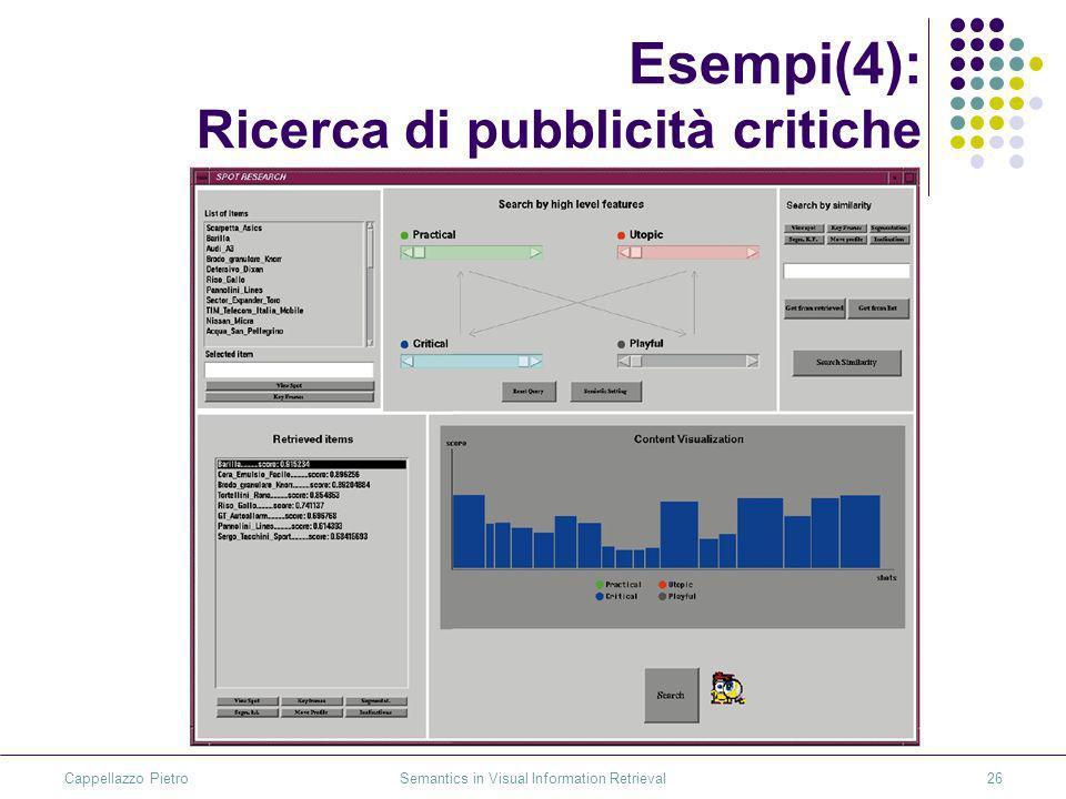 Cappellazzo Pietro Semantics in Visual Information Retrieval26 Esempi(4): Ricerca di pubblicità critiche
