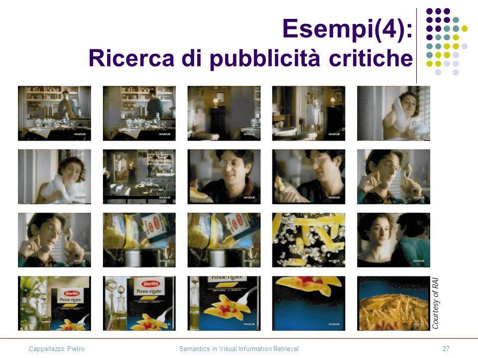 Cappellazzo Pietro Semantics in Visual Information Retrieval27 Esempi(4): Ricerca di pubblicità critiche