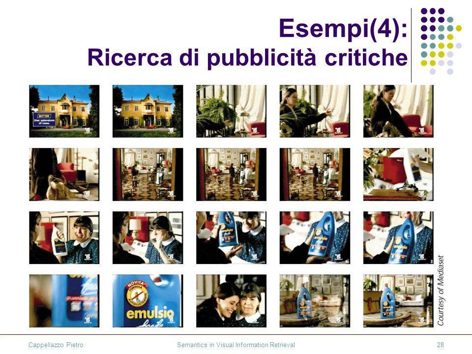 Cappellazzo Pietro Semantics in Visual Information Retrieval28 Esempi(4): Ricerca di pubblicità critiche