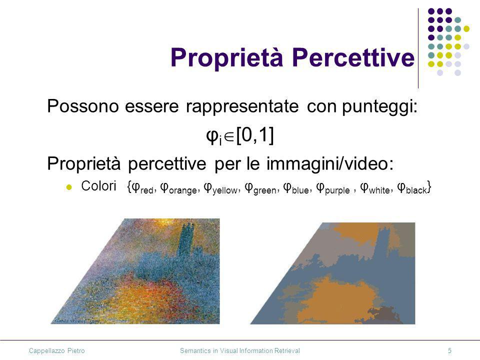 Cappellazzo Pietro Semantics in Visual Information Retrieval5 Proprietà Percettive Possono essere rappresentate con punteggi: φ i [0,1] Proprietà perc