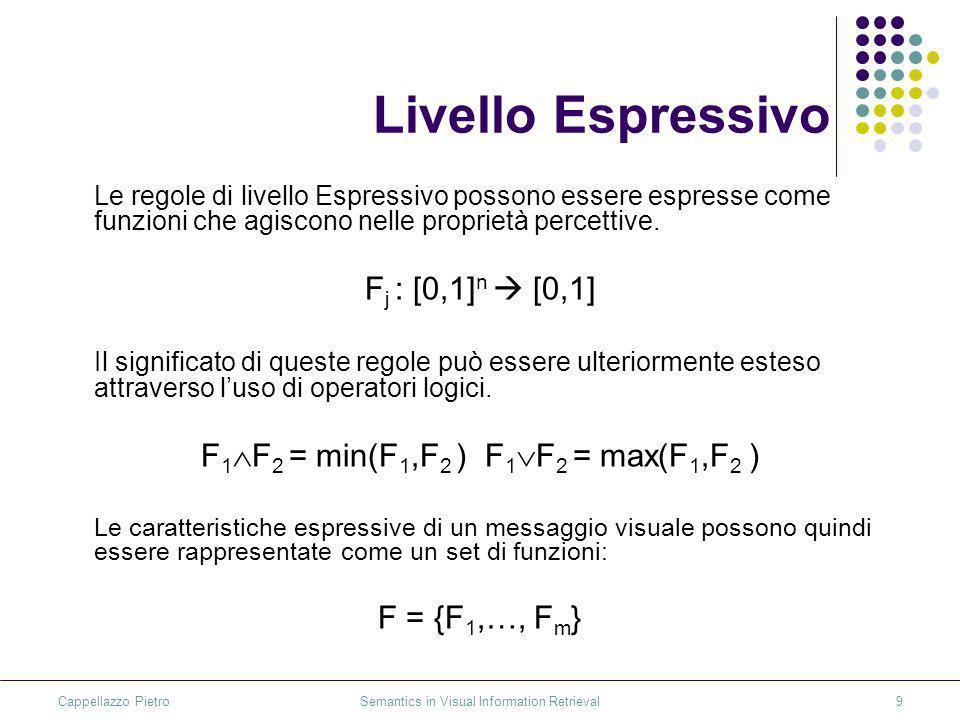 Cappellazzo Pietro Semantics in Visual Information Retrieval9 Livello Espressivo Le regole di livello Espressivo possono essere espresse come funzioni che agiscono nelle proprietà percettive.
