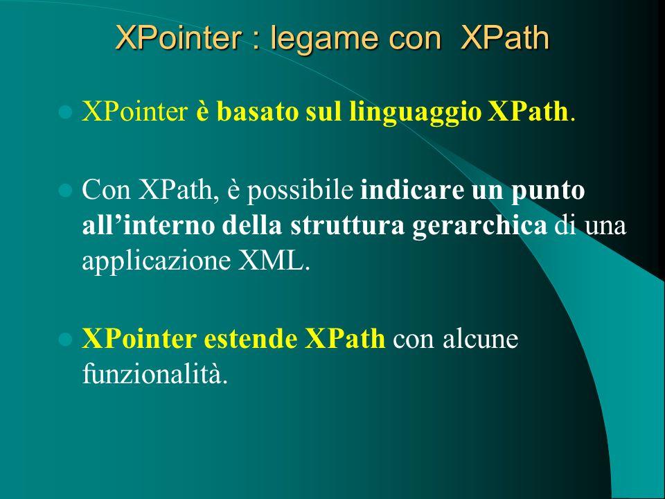 XPointer : legame con XPath XPointer è basato sul linguaggio XPath. Con XPath, è possibile indicare un punto allinterno della struttura gerarchica di