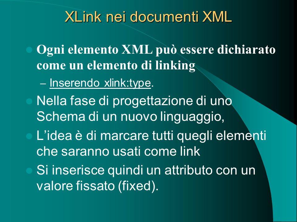 XLink nei documenti XML Ogni elemento XML può essere dichiarato come un elemento di linking – Inserendo xlink:type. Nella fase di progettazione di uno